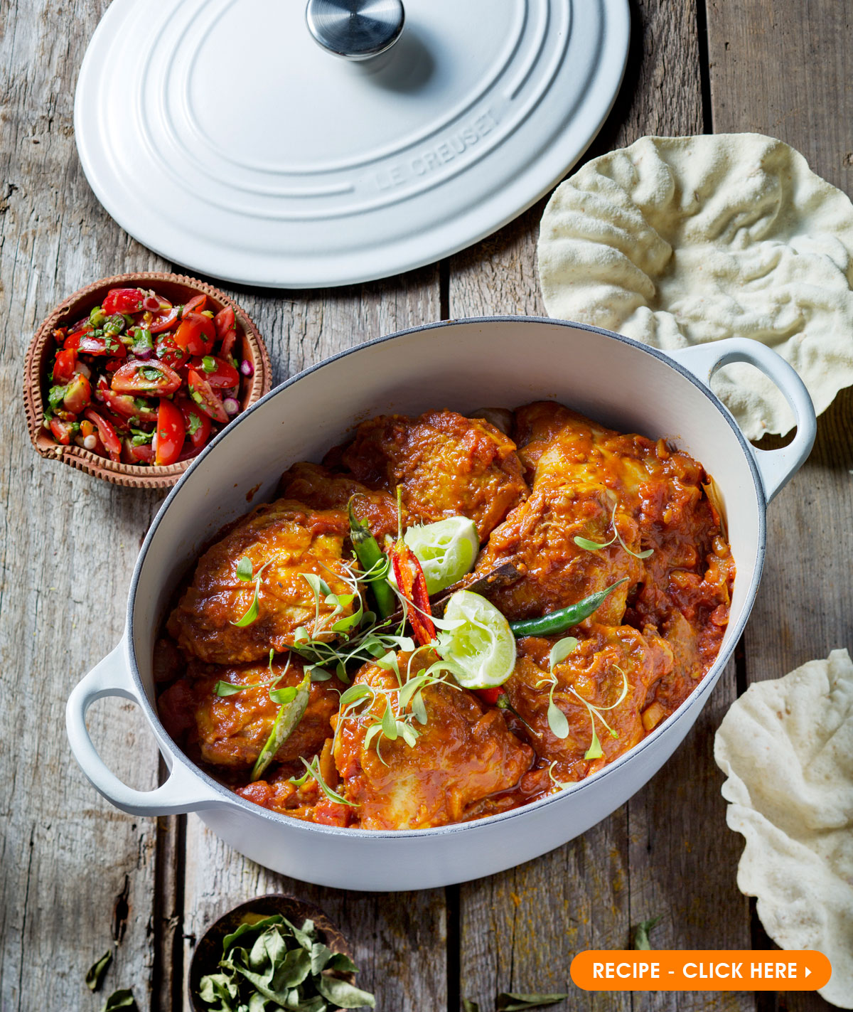 Le Creuset Fragrant Chicken Masala - Oval Cotton Casserole