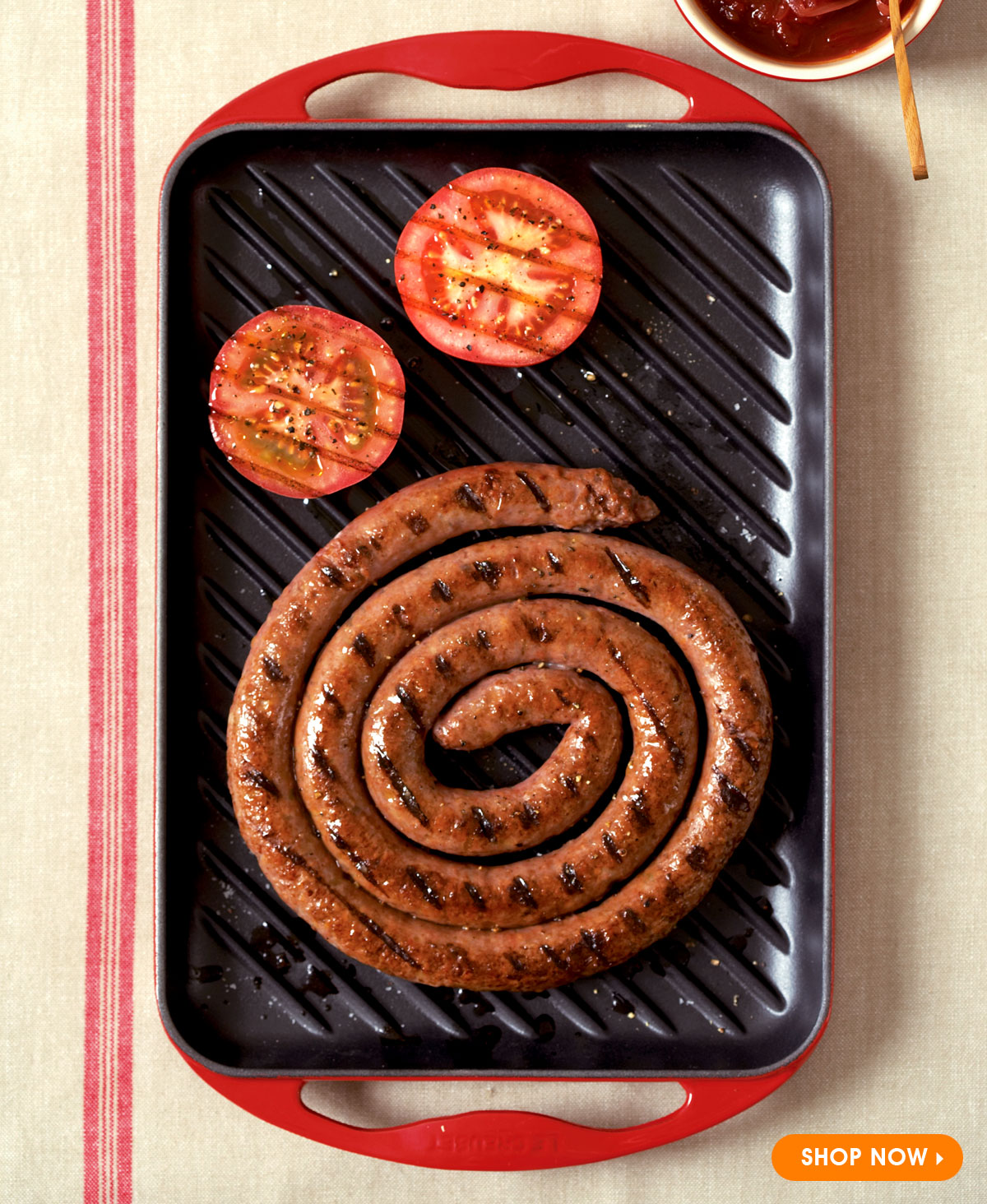Boerewors Cooked on Le Creuset Grill