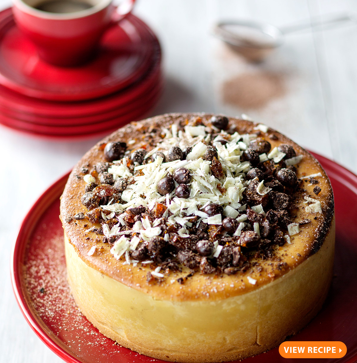 BAKED COFFEE CHEESECAKE WITH CHOCOLATE COFFEE BEAN CRUMBLE
