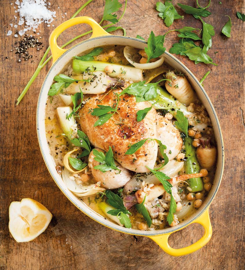 Braised Chicken with Leeks, Root Vegetables, Parsley and Wheat Grain ...