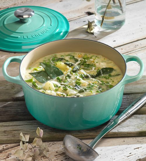 Spring Vegetable Chowder with Sour Cream & Fennel