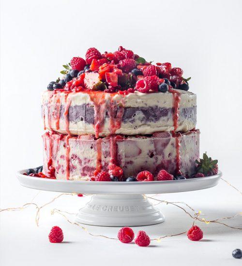 Frozen Ice Cream Summer Fruit Cake