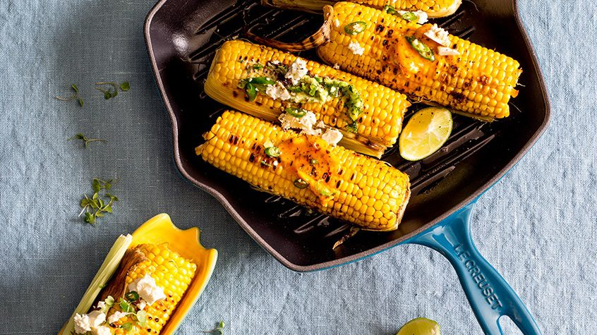 Lime, Feta & Chilli Grilled Corn with Flavoured Butter