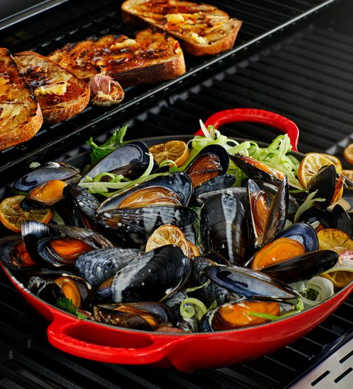 Smoke-Infused Mussels with Lemon Cream